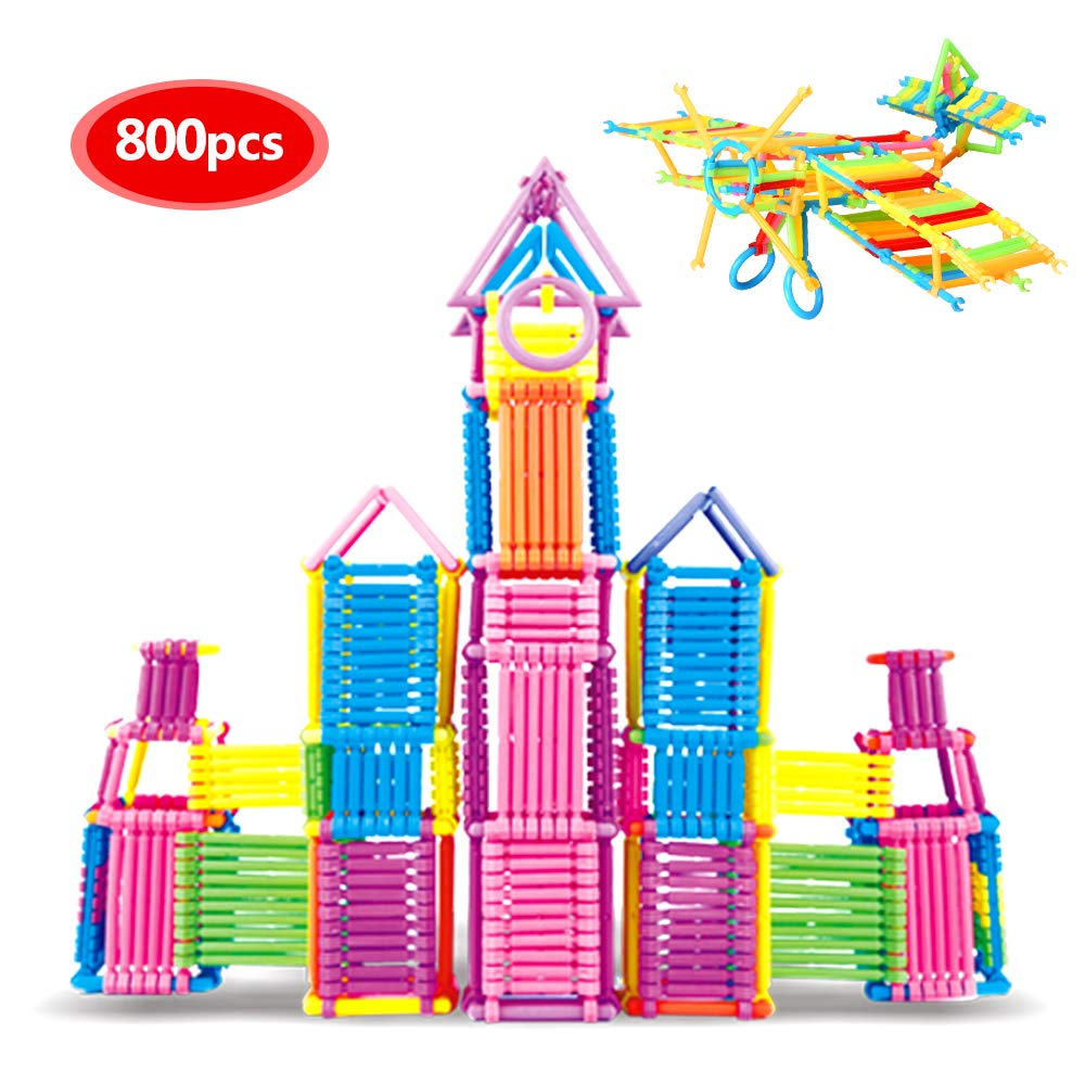 infinitoo IN6-C001 800 Pcs Connectors Set Blocks Sticks Construction Educational Connecta Straw | Building Toys for Kids Toddlers Over 3 Year Old, Red