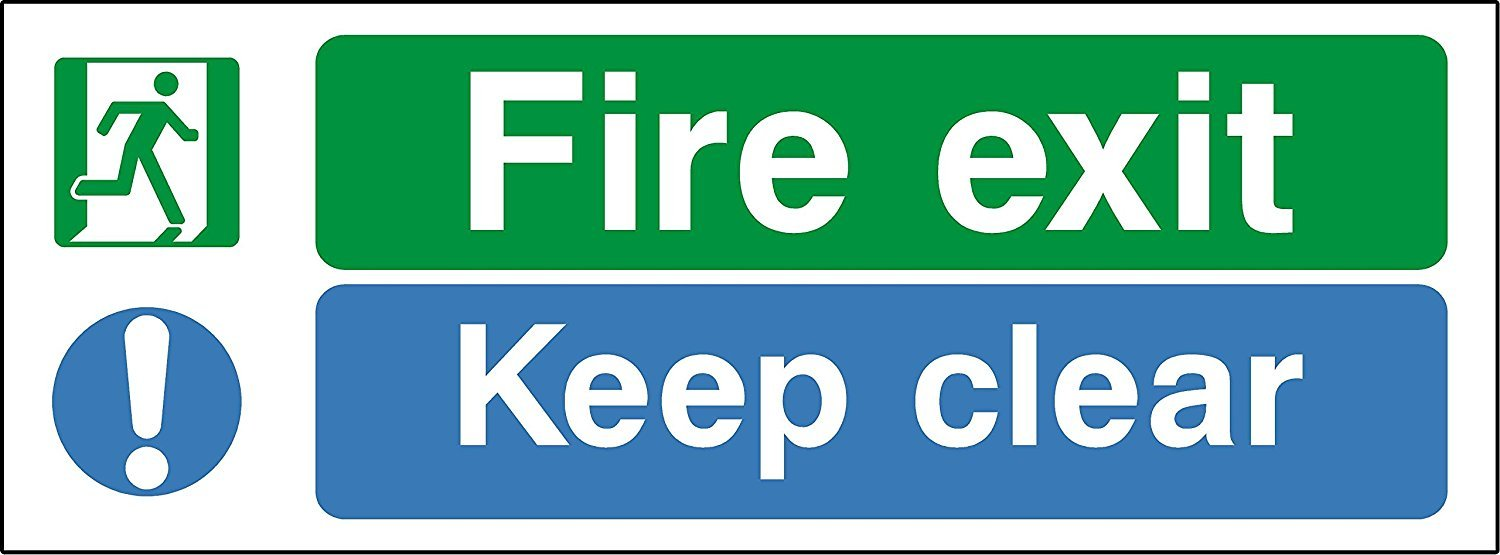 escape route keep clear Fire exit keep clear safety sign - Self adhesive sticker 300mm x 110mm KPCM Display