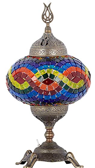 15 Colors Battery Operated Mosaic Table Lamp with Built-in LED Bulb, Turkish Moroccan Handmade Mosaic Table Desk Bedside Mood Accent Night Lamp Light Lampshade with LED Bulb,No Cord Rainbow