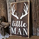 Little Man with Antlers Woodland Sign