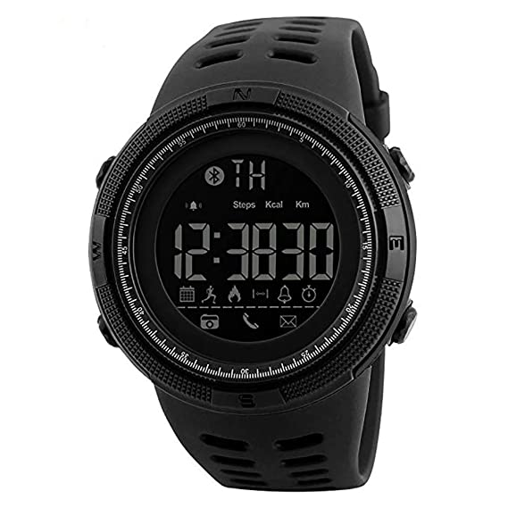 Bluetooth APP Remind Smart Watch Men Pedometer Calories Waterproof Digital Outdoor Sport Clock Mens Wristwatch Gift for Boys Friend/Father