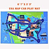 "2018 Kids Rug Area Play Mat Car Carpet with Road 6' 7""  X  3' 3""  Map of USA--High Definition(HD) with Non-Slip Backing Nontoxic for Playroom Bedroom Classroom Toy & Game"