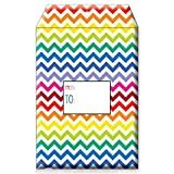 Jillson Roberts 6-CountTyvek Decorative Padded Mailing Envelopes Available in 8 Designs and 2 Sizes, Small, Bright Chevron