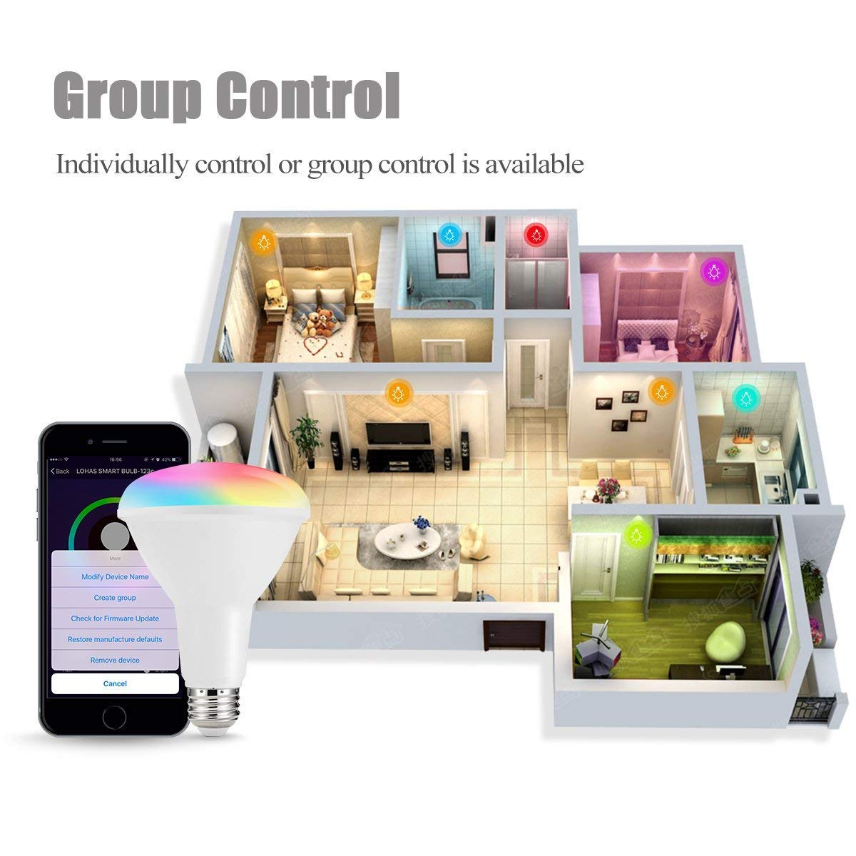 Lohas Smart Br30 Led Bulb Wi Fi Control Light Multicolored Rgb Re How Do I A Mosfet With An Optical Reflector Flood 80w Equivalent E26 Medium Base Voice Remote Home Lighting