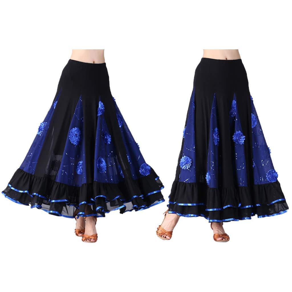 perfeclan Jupe de Danse Flamenco Longue en Maille Paillettes Silhouette Parfaite pour Femmes