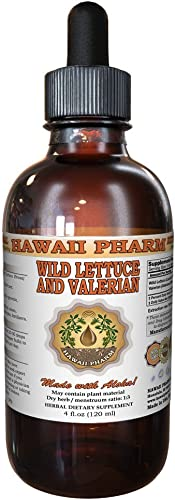 2-in-1 Wild Lettuce Valerian Tincture, Organic Wild Lettuce Lactuca Virosa Valerian Valeriana officinalis Liquid Extract, Hawaii Pharm Trusted Brand, 4 oz