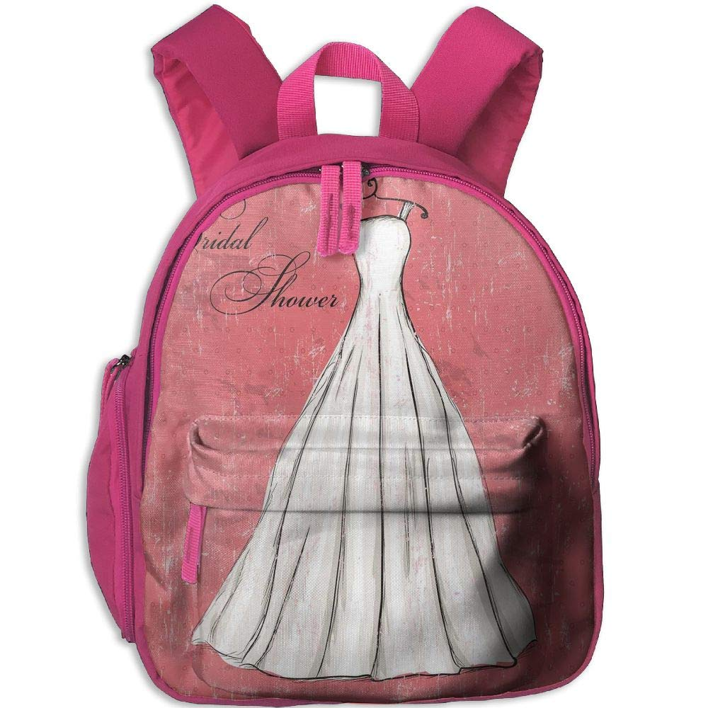 Haixia Kid's Boys&Girls School Backpack with Pocket Bridal Shower Decorations Pink Grunge Backdrop Wedding Bride Dress Party Image Coral Black and White