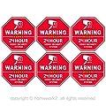 CCTV Video Surveillance Security Door & Window Stickers, Red Octagon-Shaped, 3.3 X 3.3 Inch Vinyl Decals - Indoor & Outdoor Use, UV Protected & Waterproof - 6 Labels by Homework2