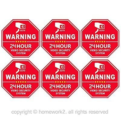 CCTV Video Surveillance Security Door & Window Stickers, Red Octagon-Shaped, 3.3 X 3.3 Inch Vinyl Decals - Indoor & Outdoor Use, UV Protected & Waterproof - 6 Labels by Homework2