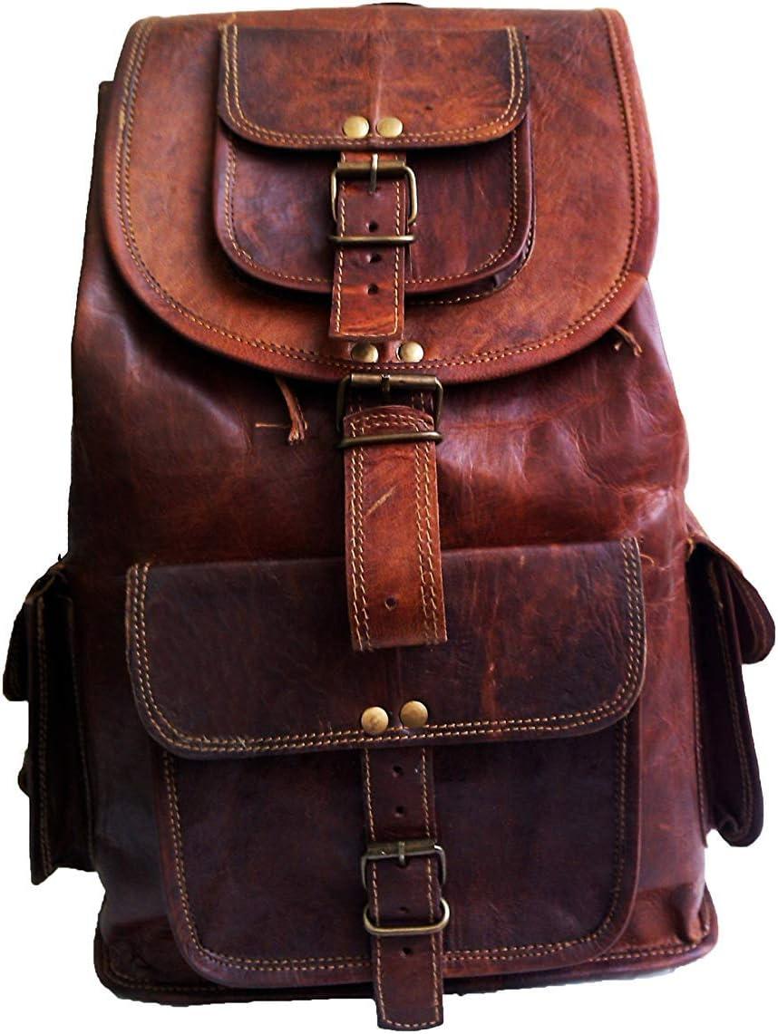 46 Cm Mochila Backpack Salveque Morral Valija De Cuero Piel Marrón para Portátil Ordenador, Impermiable Casual Espalda Uso Escolar Senderismo Viaje Regalo Hombres Mujeres Leather