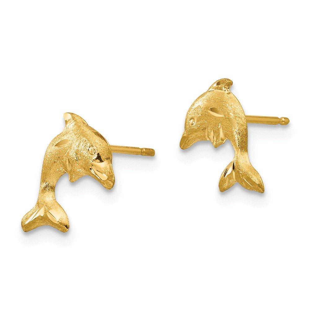 14K Yellow Gold Madi K Childrens 8 MM Satin Dolphin Stud Earrings