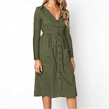 Button Pocket Autumn Long Sleeve Femme V,Neck Dresses Winter Solid A,Line  Dress