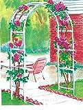 7FT. Decorative Arched Metal Garden Trellis White