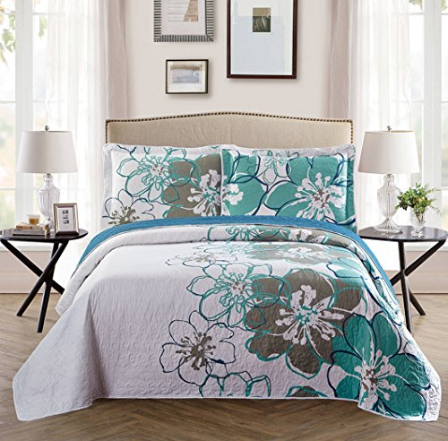 Best Prices! Fancy Collection 3 Pc Bedspread Bed Cover White Grey Green Floral (Queen)