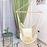Hammock Hiking, Holiday use, Safety Beige Swing Hammock Chair Cotton Rope Net Bohemia Style Tassels Hanger Portable Bedroom Indoor Garden Hanging Bed