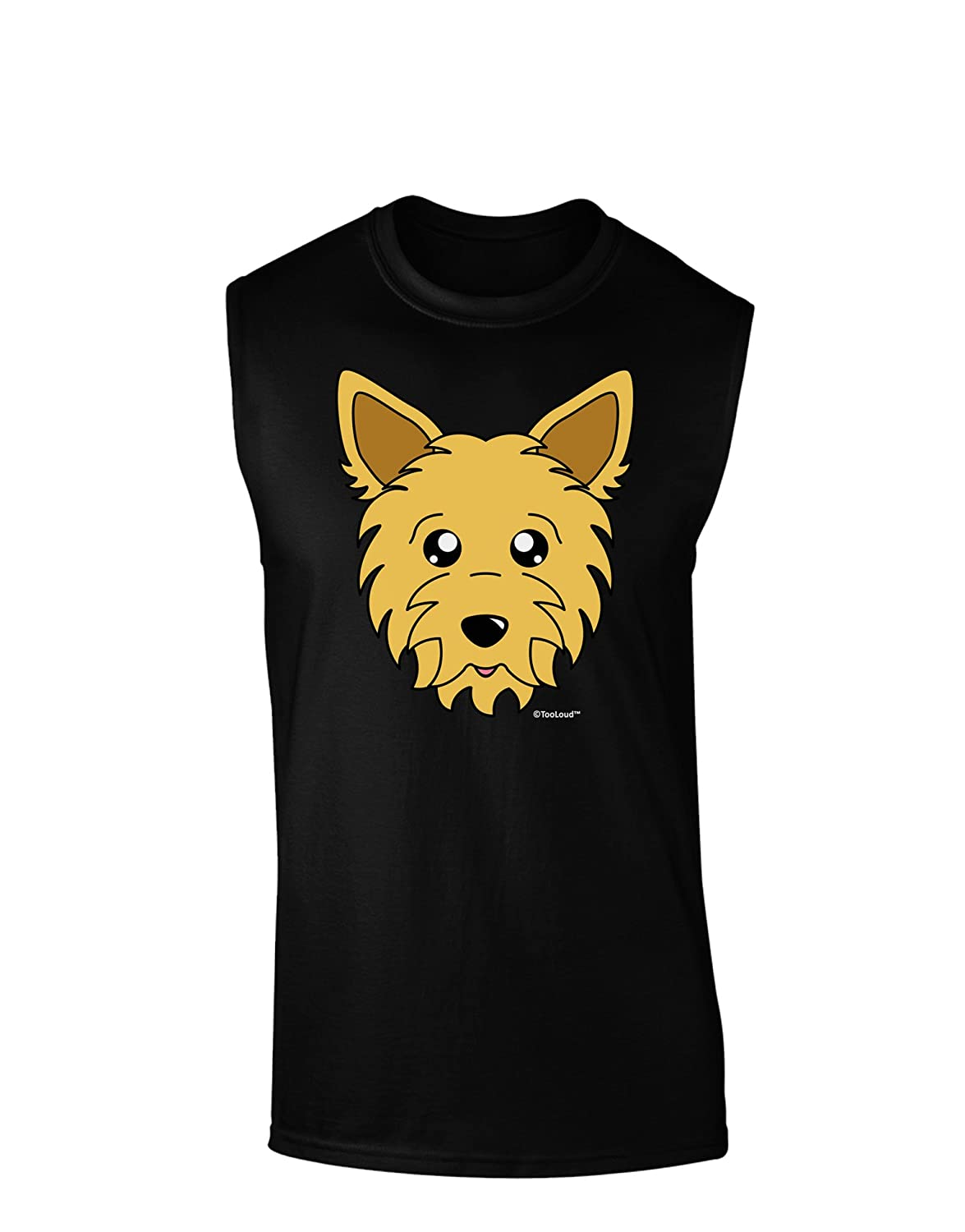 TooLoud Cute Yorkshire Terrier Yorkie Dog Dark Muscle Shirt