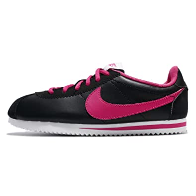 NIKE Kid's Cortez GS, Black/Vivid Pink - White, Youth Size 3.5