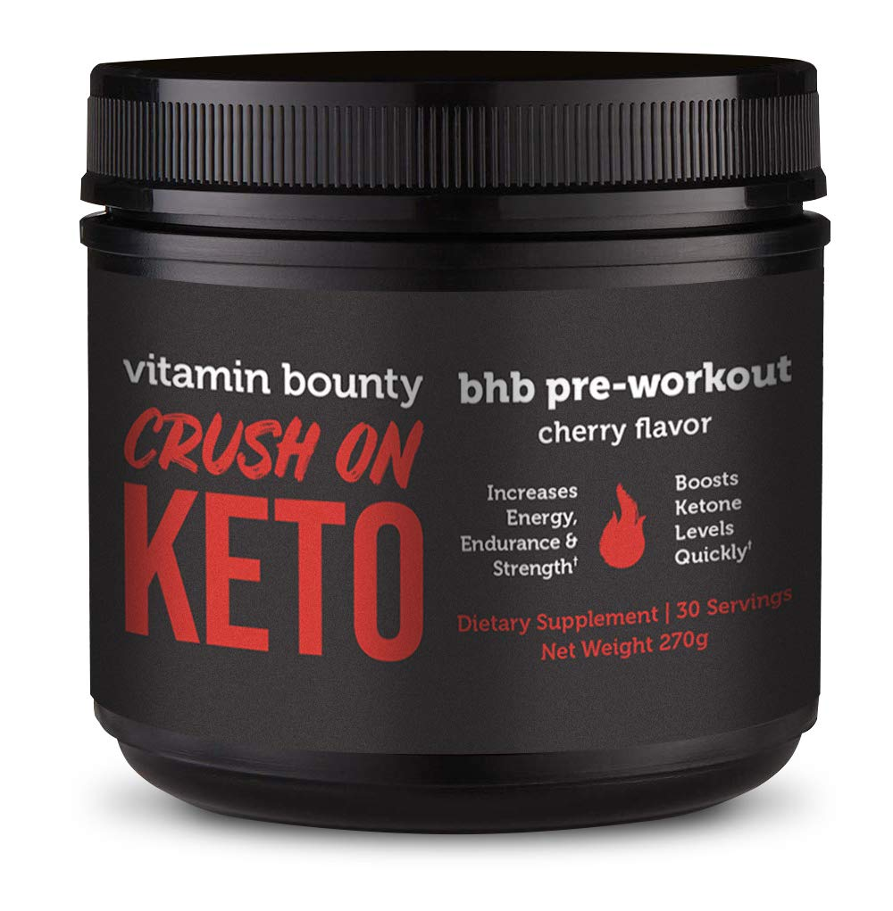 Crush On Keto - Exogenous Ketone Pre Workout Powder Drink - 0g Sugar, 0g Carbs (Cherry Flavor)