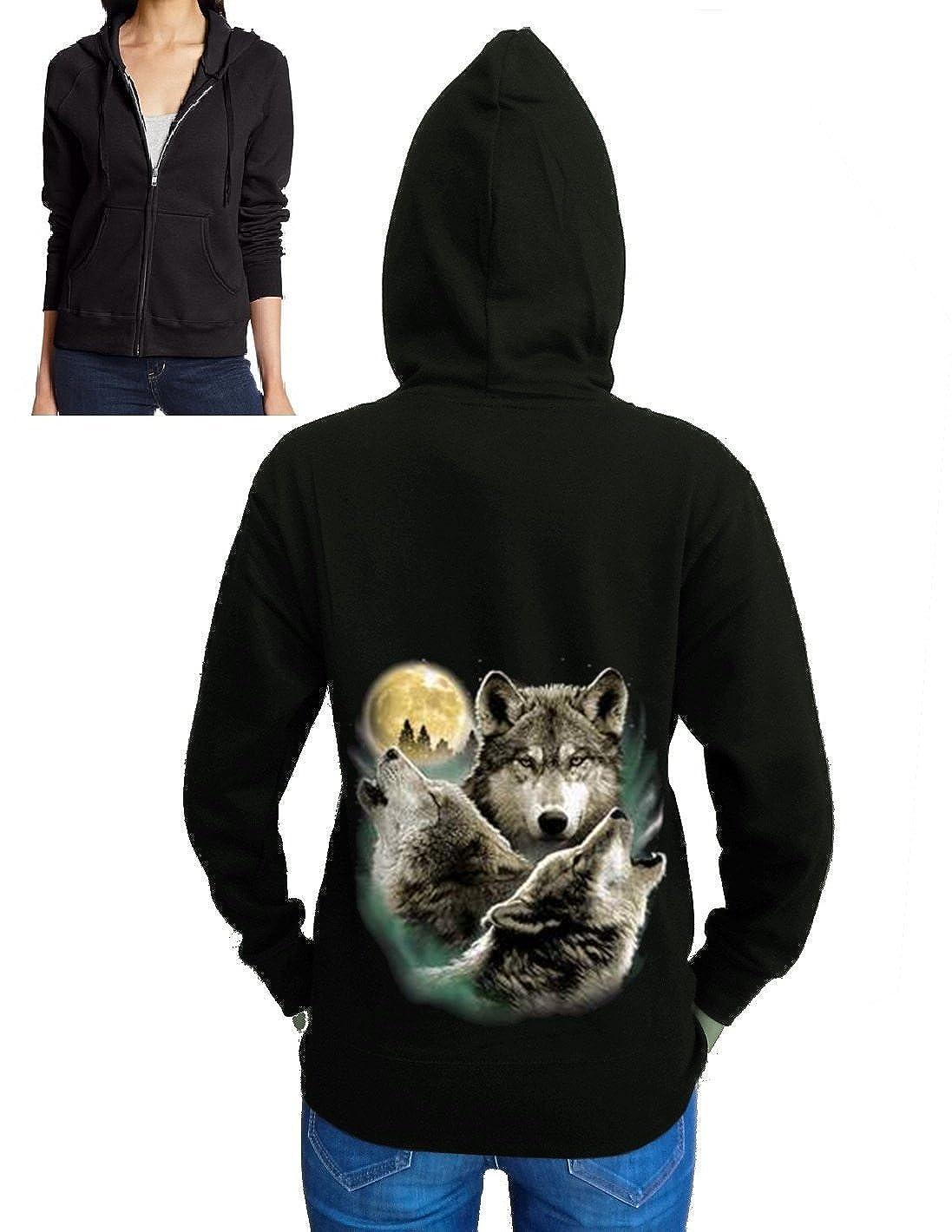 Three Howling Wolves Zipper Hoodie Fleece Black S-2XL Juniors