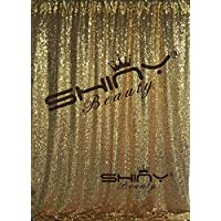 ShinyBeauty 6FTx6FT-Gold-Simple Sequin Photography Backdrop,Sequin Wedding Curtain,Sequin Photo Booth Backdrop