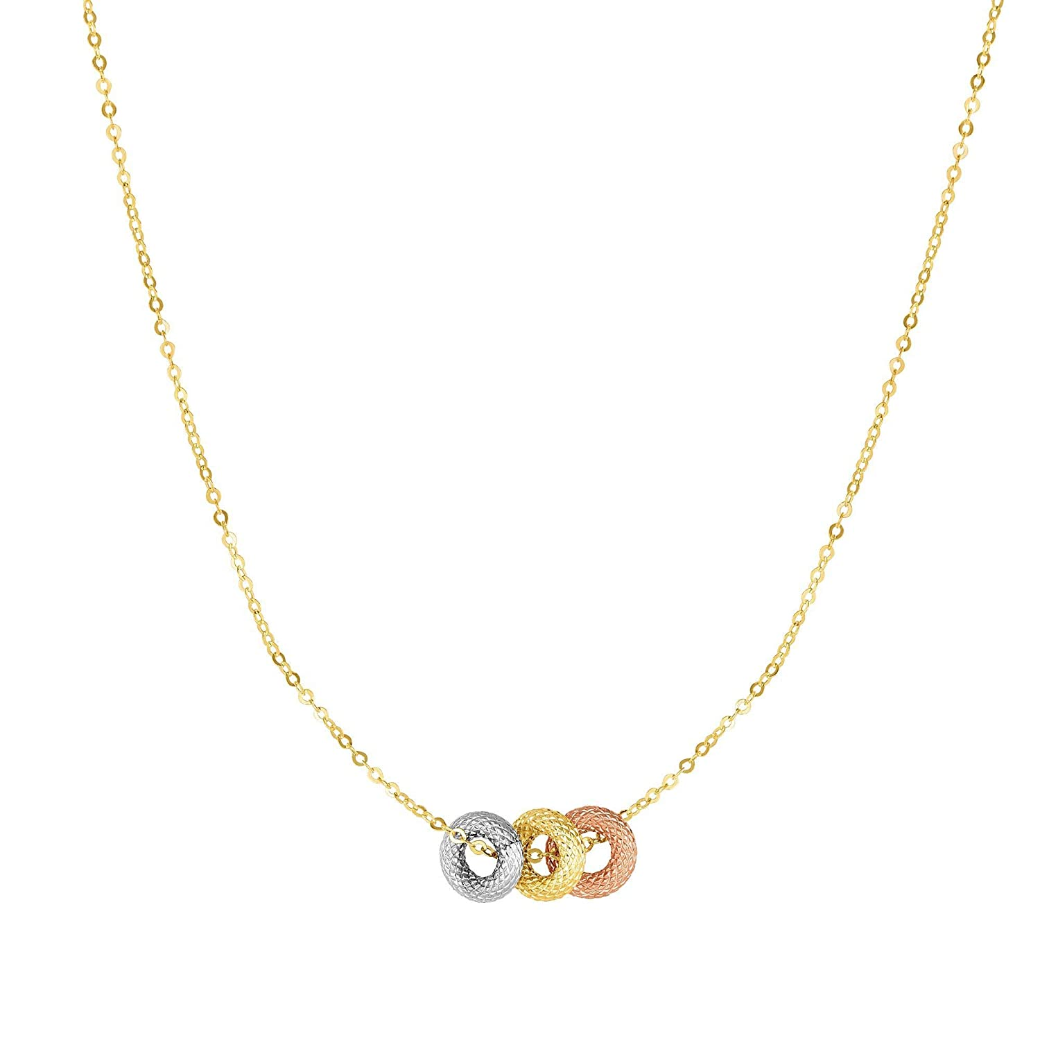 Rose /& White Gold Textured Cable Chain Link 18 Tri-Color Donut Adjustable Charm by IcedTime 14K Yellow