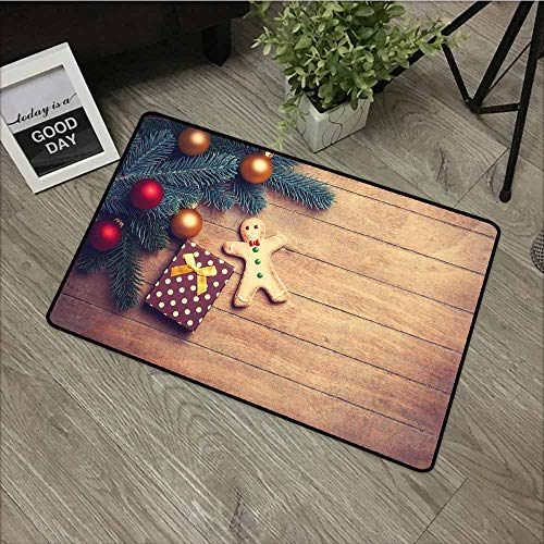 (LOVEEO Crystal Velvet Doormat,Gingerbread Man Pine Branches Delicious Cookie and Present on Wood Planks,for Outdoor and Indoor,24