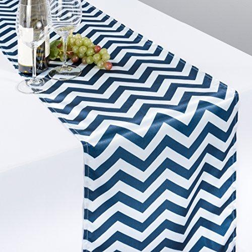 LinenTablecloth Chevron Satin Table Runner, 14 x 108, Navy Blue