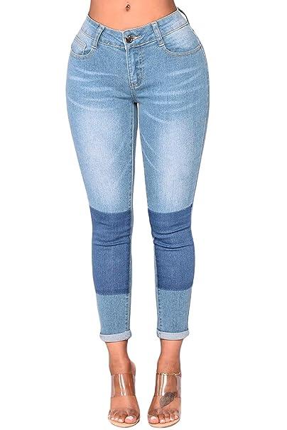 Aleumdr Mujer Vaqueros Básico Slim Vaquero Skinny Push Up Jeans de Mujer Elástico Size S-XXL