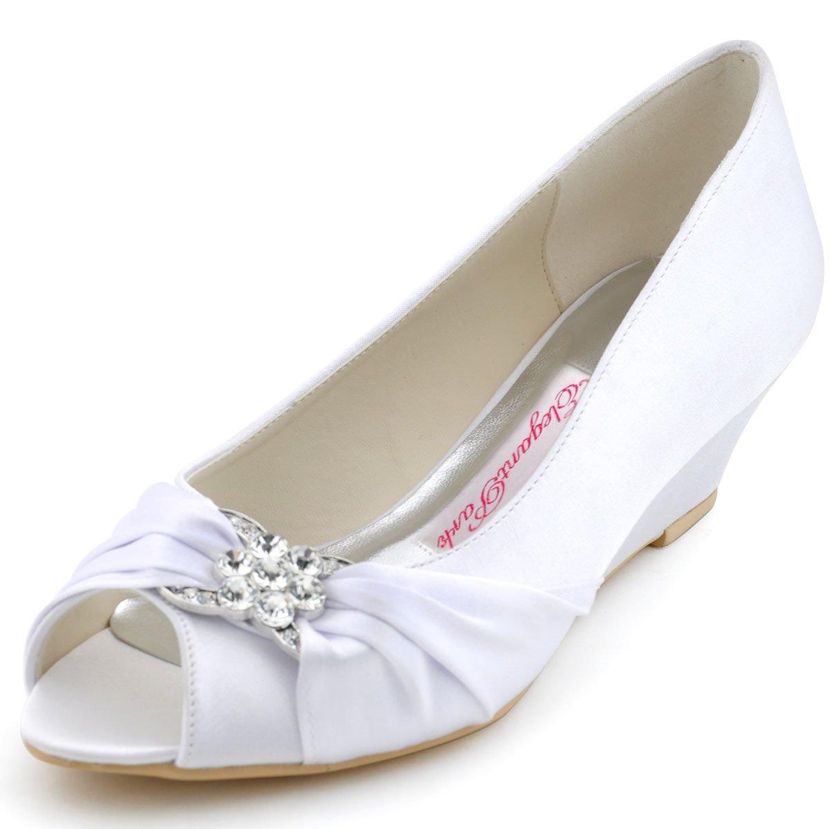 ElegantPark WP1403 Punta abierta zapatos de cua Buckles raso zapatos de novia Mujer 36 EU blanco