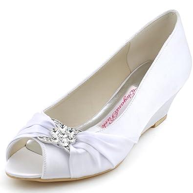 8e5aa1116763 ElegantPark WP1403 Women Peep Toe Pumps Rhinestones Mid Heel Wedges Satin  Wedding Bridal Shoes White US