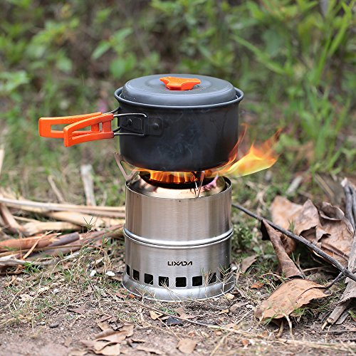 Lixada portable stainless steel lightweight wood stove for Outdoor wood cooking stove