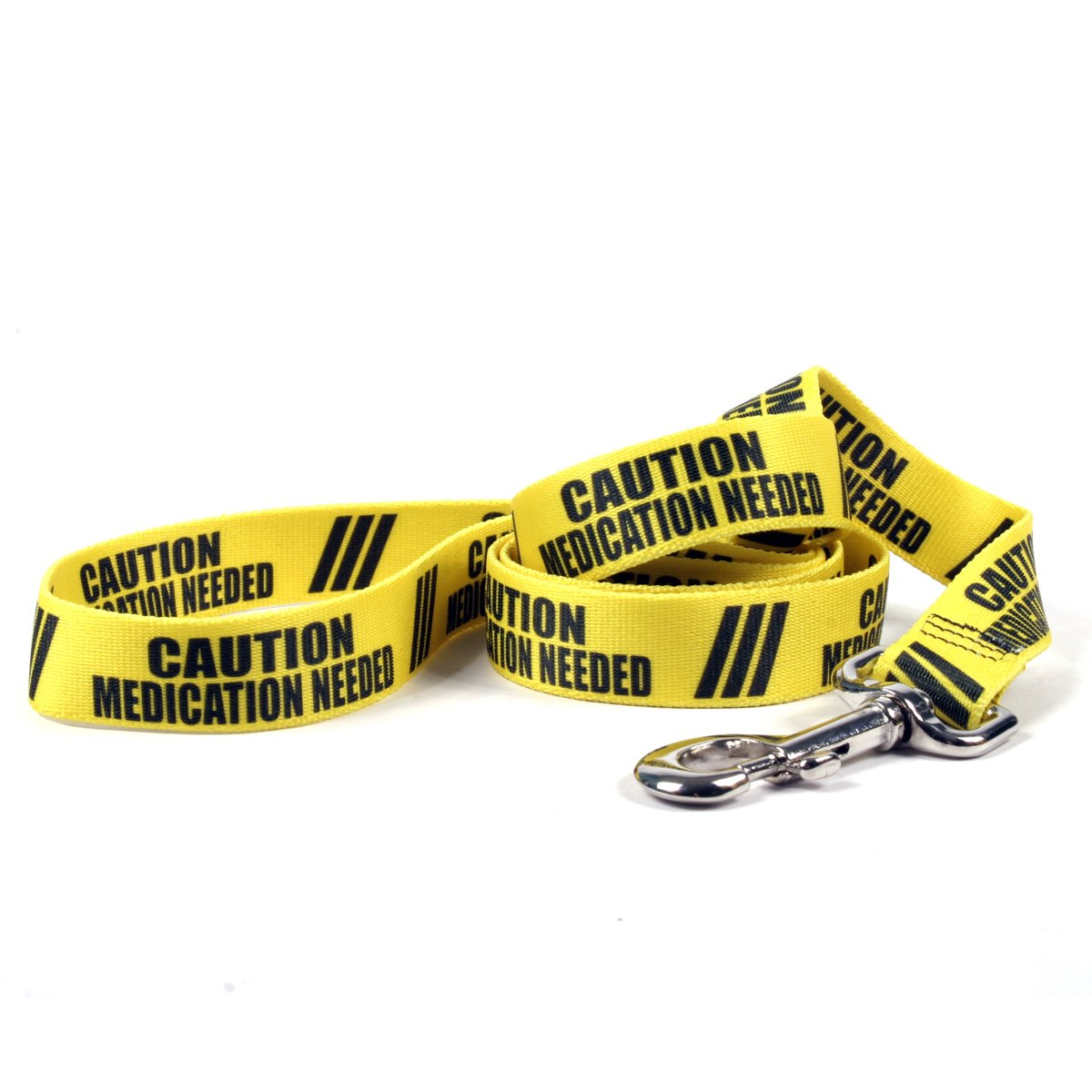 Yellow Dog Design Caution Medication Needed Dog Leash with Standard Loop Handle, 1'' Wide