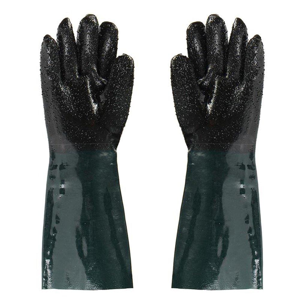 Jewboer 19'' Rubber Sandblaster Sand Blaster Sandblasting Gloves for Sandblast Cabinets Safety Glove 48cm Length