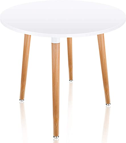 Leopard Coffee Table – White Round Top Kitchen Dining Table with 4 Wood Legs Leisure Wooden Tea Table Office Conference Pedestal Desk- 31.5 Diameter