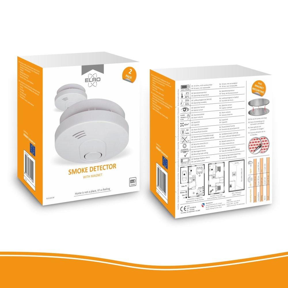 Elro fs1510 2-Pack 10 detectores de Humo con Magnético Adhesivas Kit/DIN EN14604/10 años Sensor, Batería y garantía, 2 Unidades, Color Blanco: Amazon.es: ...