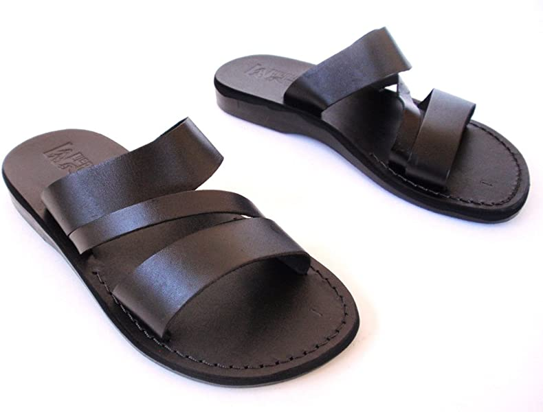 96ee3f5a1980 SANDALIM Leather Sandals for Men Flip Flops Greek Beautiful Comfortable 11  Colors Greece Style Black