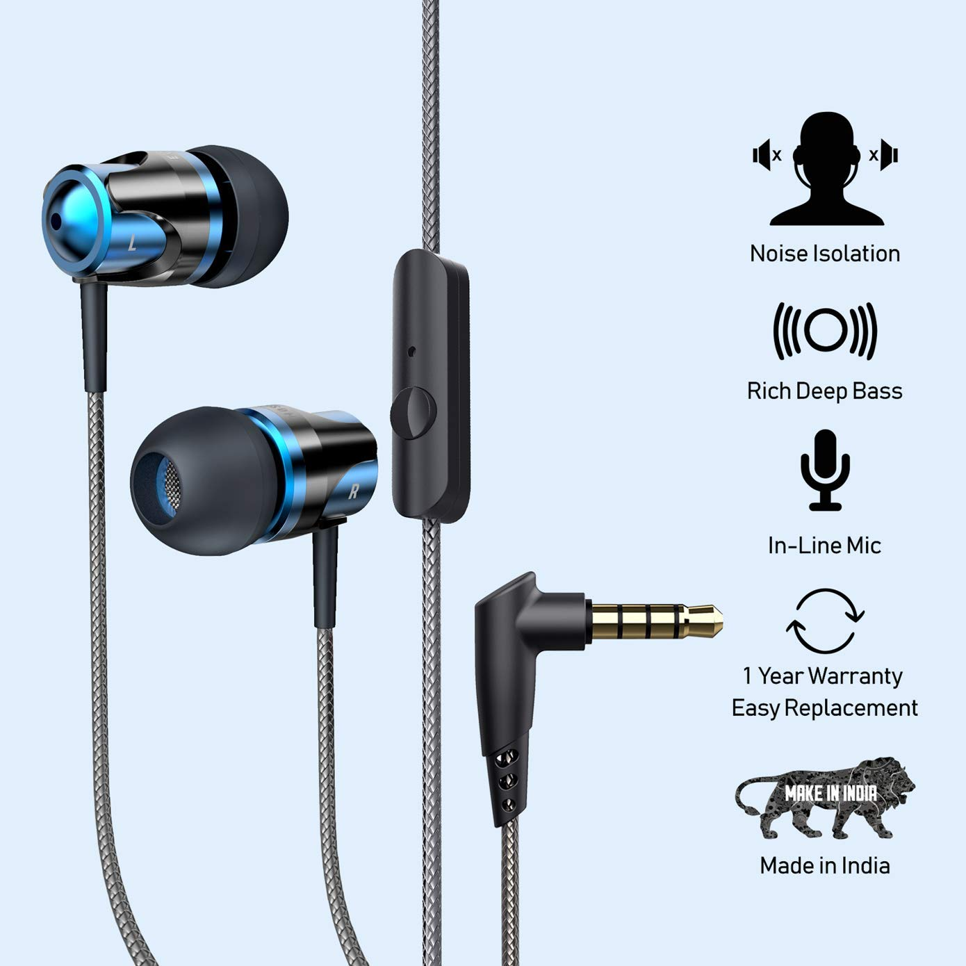 B4 in-Ear Rich Bass Headphones with Mic