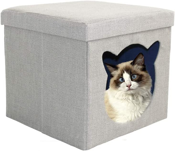 CUPETS Cat Cube Enclosed Cave,Dog House Kitten Condo with Comfortable Cat Bed for Pets