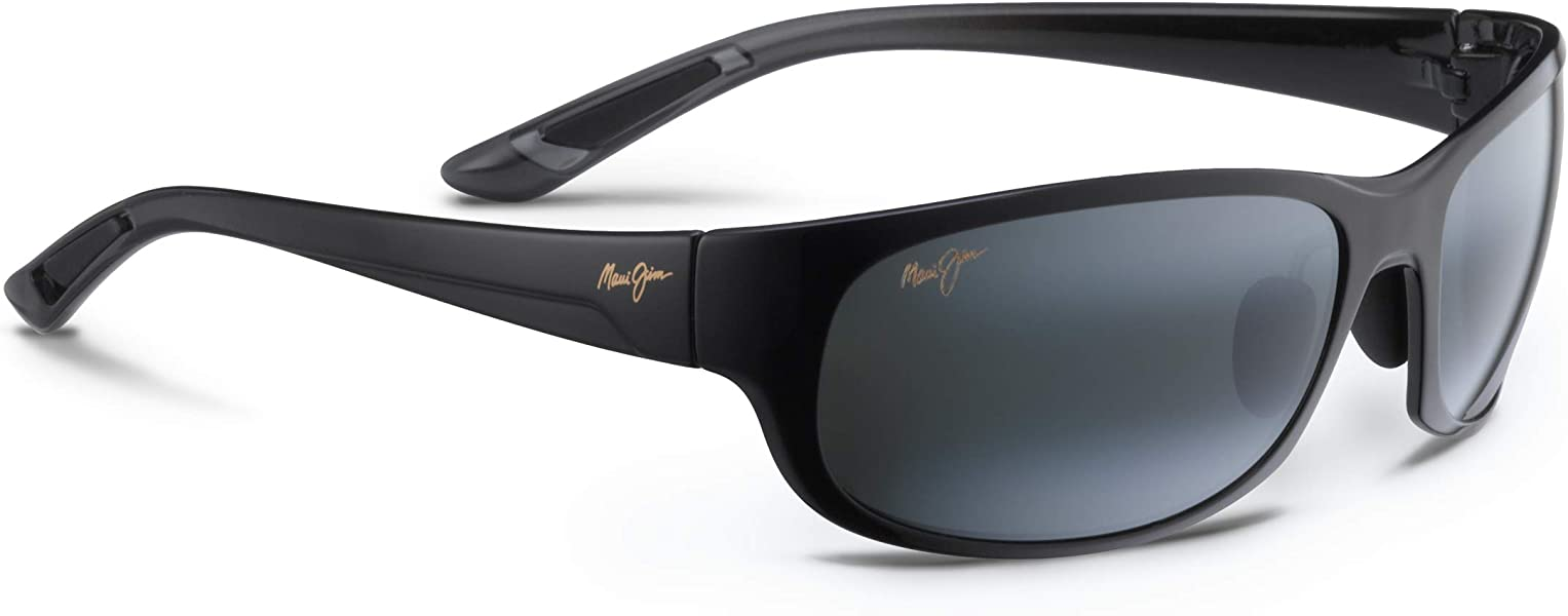 50843d17f5bb Amazon.com  Maui Jim Mens Twin Falls 63 Sunglasses (417) Black Shiny ...