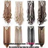 "S-noilite Newest Binary Colour 8PCS/SET Full Head Hair Extensions Real Natural Thick as Human Hair Top Synthetic Hairpiece For Daily Dating Party Wedding (26""-Straight, Dark Brown & Ash Blonde)"