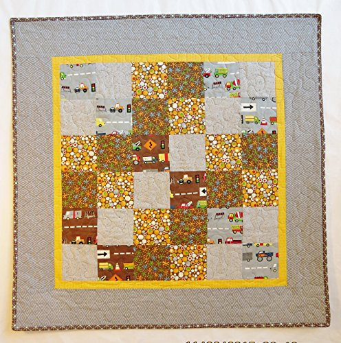 Baby Boy Street Theme Quilt in Grey, Brown and Yellow.