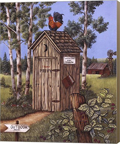 Outhouse – Rooster by Kay Lamb Shannon Canvas Art Wall Picture, Museum Wrapped with Light Brown Sides, 16 x 20 inches