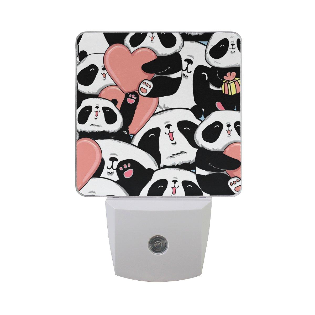 JOYPRINT Led Night Light Valentine's Day Panda Love Heart, Auto Senor Dusk to Dawn Night Light Plug in for Kids Baby Girls Boys Adults Room