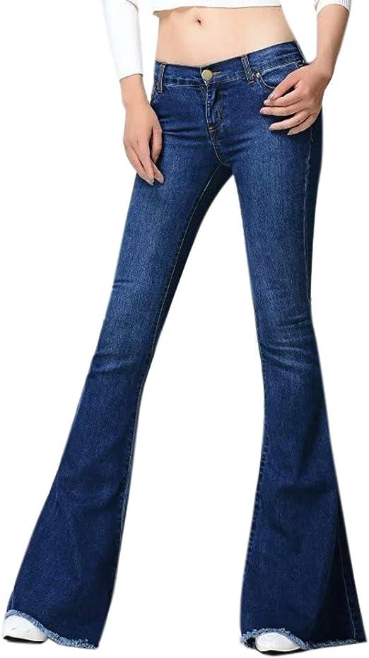 HX fashion レディースジーンズスラップワイドデニムパンツブーツカットフレアジーンズスリムカジュアルストレッチデニムパンツファッション2019女性服