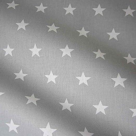Tela de algodón estrellas gris claro blanco grande Star: Amazon.es ...