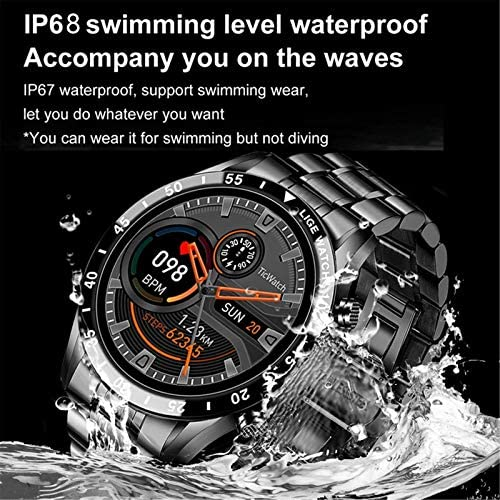 LIGE Business Steel Stainless Smart Watch Bluetooth Fitness Tracker with Heart Rate Monitor Sleep Monitor Compatible with Android Phones iOS for Men