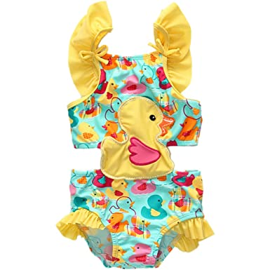 4c7e5070c9 BEFULY 2018 New Arrival Beach Swimwear Baby Girls Cute Yellow Duck One  Piece Swimsuit 18M-