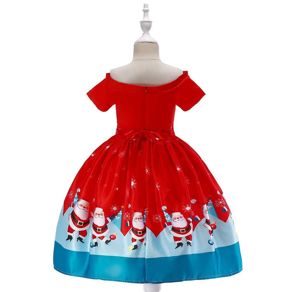 FEITONG Toddler Kids Baby Girls Off Shoulder Christmas Santa Print Princess Dress Outfits