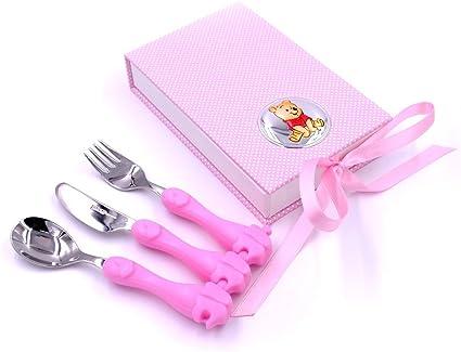 idea regalo bambina Disney Baby Prima Infanzia Set Pappa Tascabile con Posatine in Metallo e Dettagli in Argento Winnie The Pooh