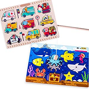 Jigsaw Wooden Peg Puzzles (2 Set) - Cars, Ocean Animal Magnetic Classic Wooden Fishing Game Early Development Educational Toy For 2, 3, 4 Year Olds Kids, Toddler,Preschool, Boys, Girls - iPlay, iLearn